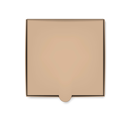Square pizza box top view, vector mockup. Blank cardboard fast food package, mock-up for design