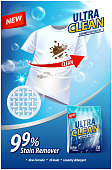 Laundry detergent, stain remover ad vector template. Ads poster design on blue background with white t-shirt and stains. Vertical illustration for your design