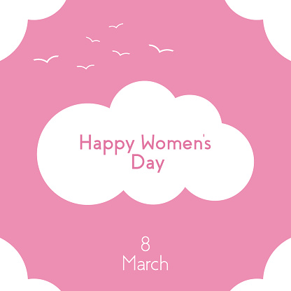 Square poster design, with a white cloud on a pink background. Happy Women s Day, March 8. Suitable for sales, social networks. Vector illustration