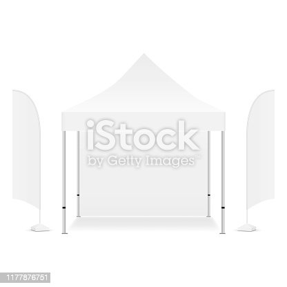 Square promotional canopy tent with two advertising flags, isolated on white background. Vector illustration