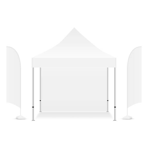 ilustrações, clipart, desenhos animados e ícones de barraca promocional quadrada do dossel com as duas bandeiras de anúncio - barraca