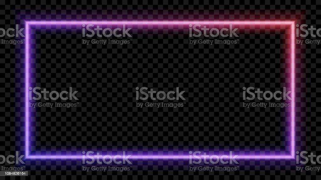 투명 한 바탕에 보라색과 빨간색 네온 빛 광장. 네온 프레임 디자인에 대 한입니다. 벡터 일러스트입니다. - 로열티 프리 0명 벡터 아트