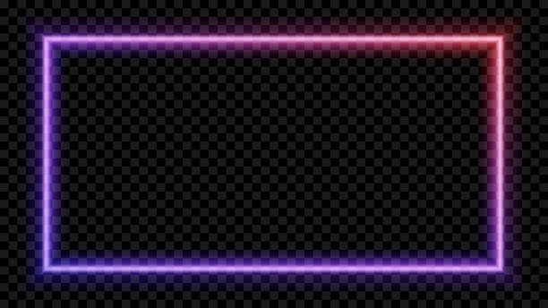 kwadratowe fioletowe i czerwone neonowe światło na przezroczystym tle. neonowa ramka do twojego projektu. ilustracja wektorowa. - neon stock illustrations