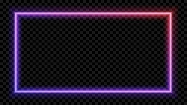 quadratische lila und roten neonlicht auf einem transparenten hintergrund. neon-rahmen für ihr design. vektor-illustration. - türposter stock-grafiken, -clipart, -cartoons und -symbole