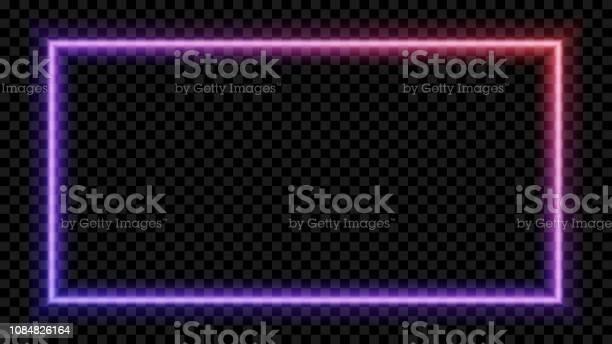 투명 한 바탕에 보라색과 빨간색 네온 빛 광장 네온 프레임 디자인에 대 한입니다 벡터 일러스트입니다 0명에 대한 스톡 벡터 아트 및 기타 이미지