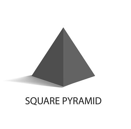 Square Pyramid Geometric Figure in Black Color