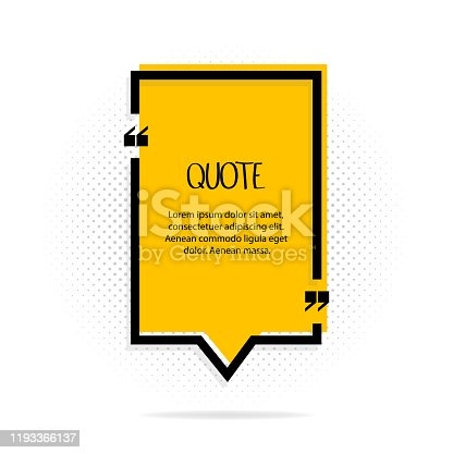 Square quote text bubble. Comas, note, message and comment. Vector illustration
