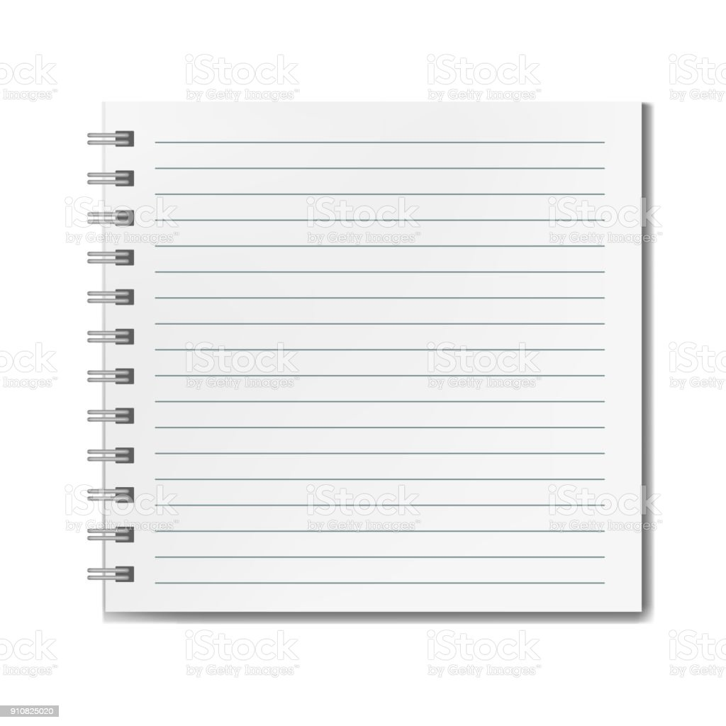 Square realistic lined notebook mockup vector art illustration