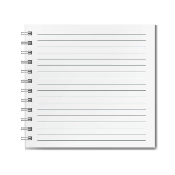 square realistic lined notebook mockup - lined paper stock illustrations