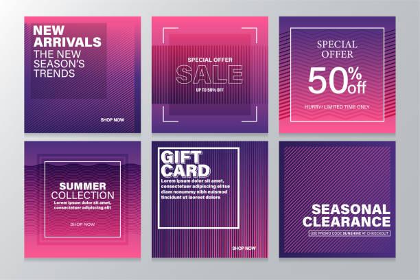 ilustrações de stock, clip art, desenhos animados e ícones de square sale banners template for social media and mobile apps with abstract geometric background. - modelos