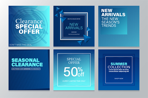 Square Sale Banners Template for Social Media and Mobile apps with Abstract Geometric Background.