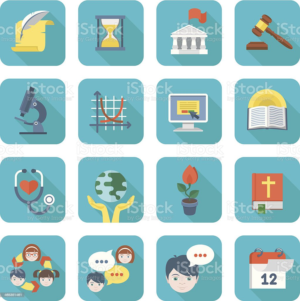Square School Icons Set vector art illustration