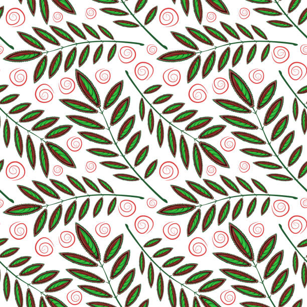 Bекторная иллюстрация Square, seamless pattern, leaf pattern. Background for site or blog, textiles, packaging, interior drawing, wallpaper