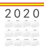 Square spainish 2020 year vector calendar.