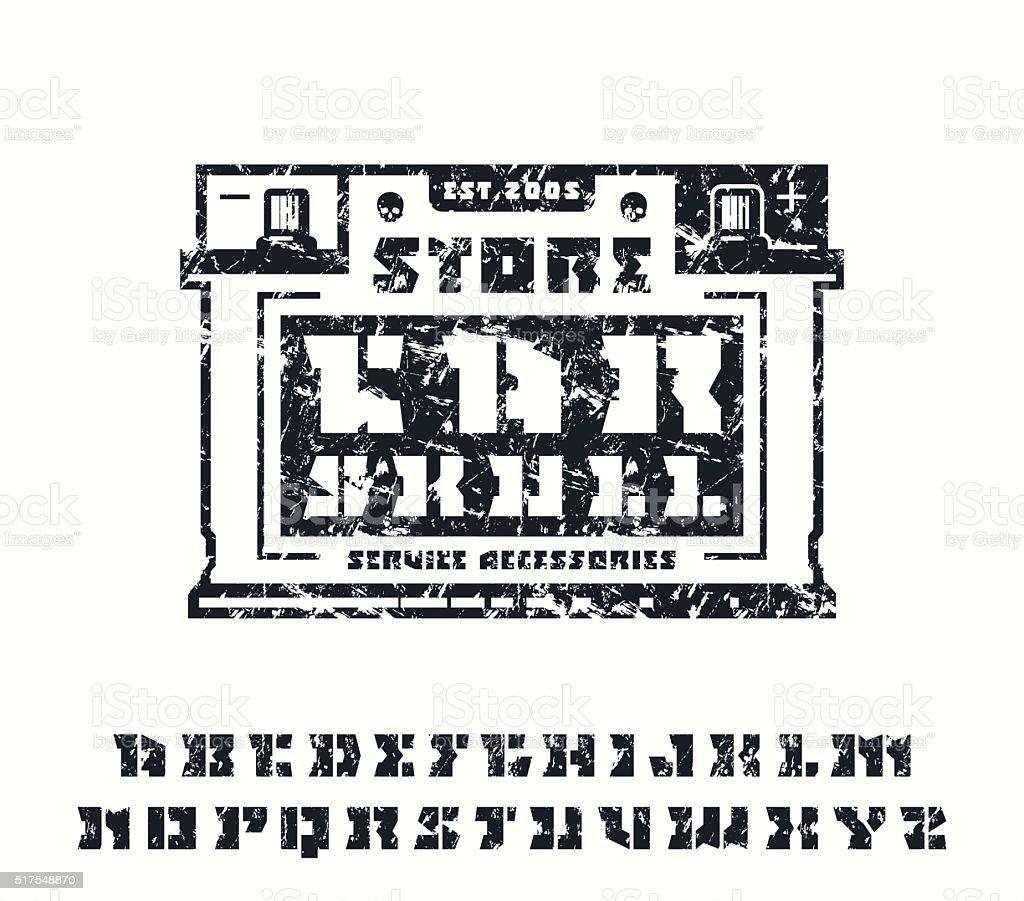 Platz Plate Schablonenserif Schriftart Und Autoservicesymbol Vektor ...