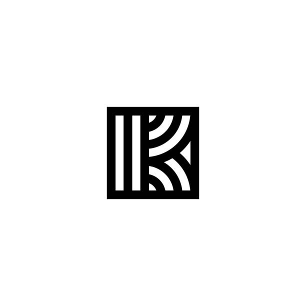 Square Stripes Vector Logo Letter K Line Vector Logo Letter K. K Letter Design Vector Lines k logo illustrations stock illustrations