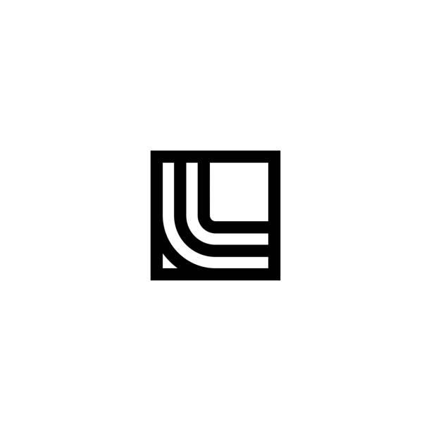 Square Stripes Vector Logo Letter L Line Vector Logo Letter L. L Letter Design Vector Lines letter l stock illustrations