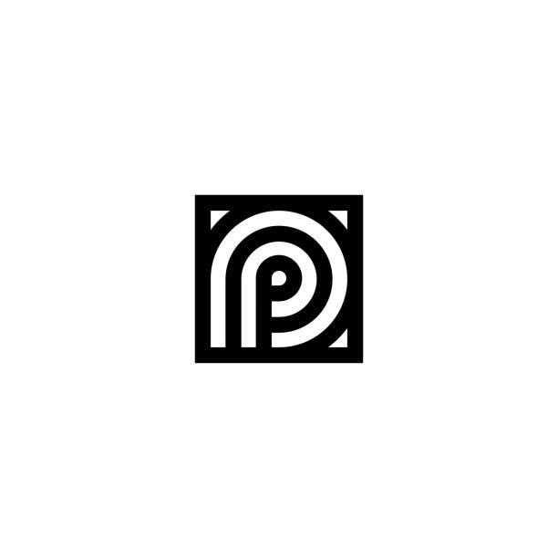 stockillustraties, clipart, cartoons en iconen met vierkante strepen vector logo letter p - letter p