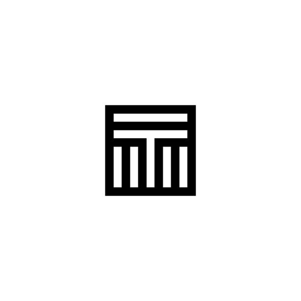 Square Stripes Vector Logo Letter T Line Vector Logo Letter T. T Letter Design Vector Lines letter t stock illustrations