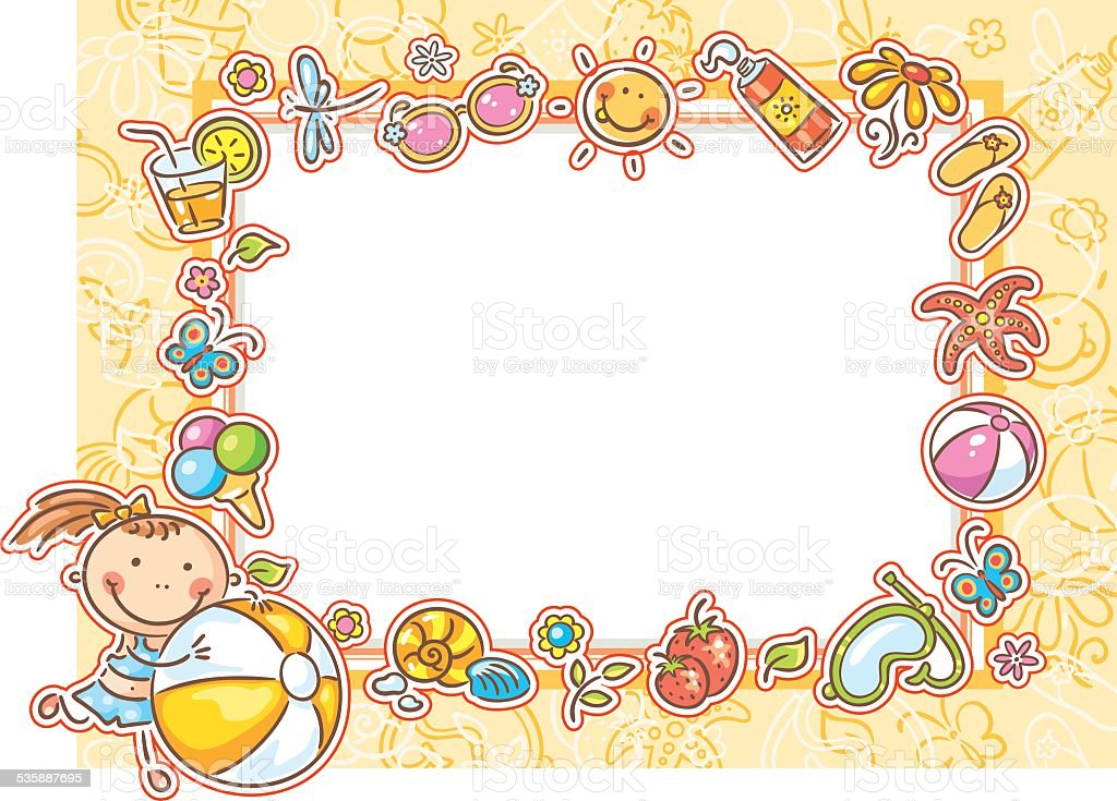 Square Summer Frame With A Little Girl Stock Vector Art & More ...