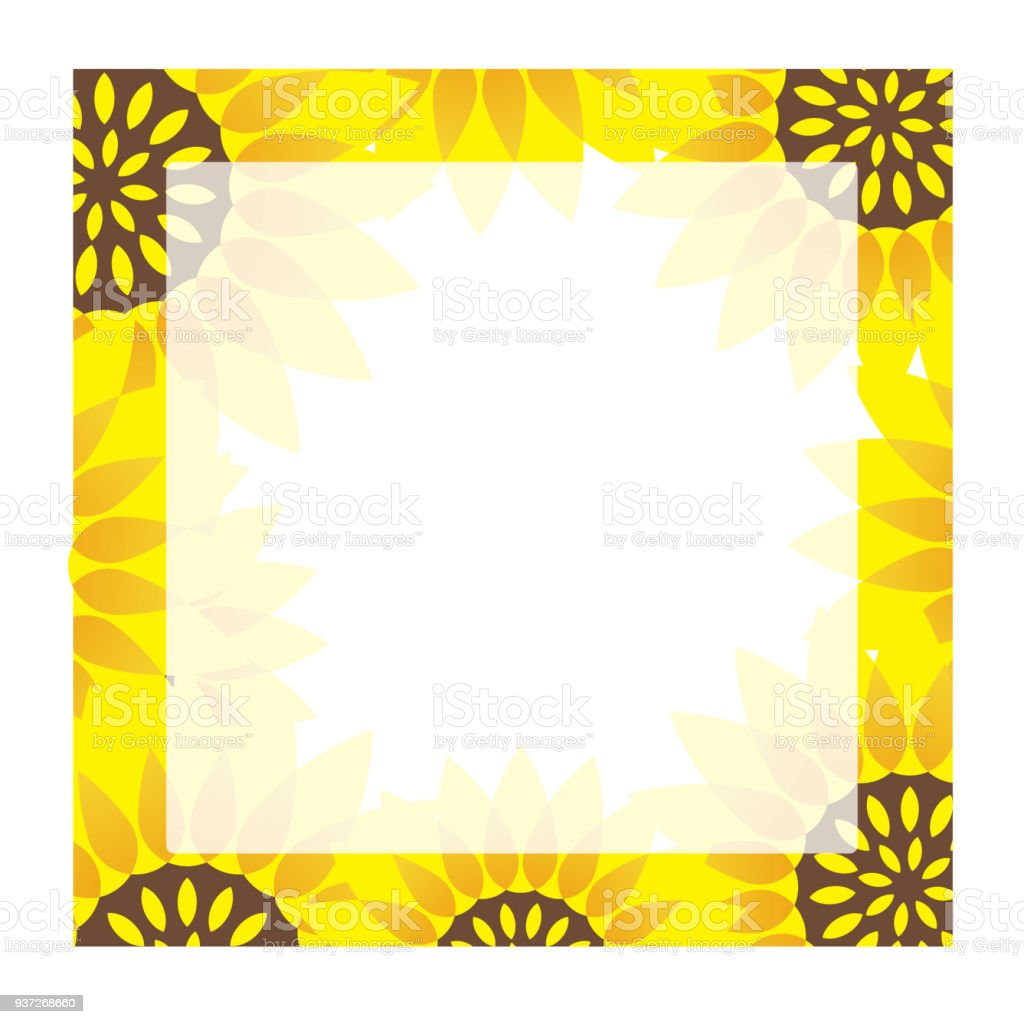Square Sunflower Frame With Text Space Stock Vector Art More