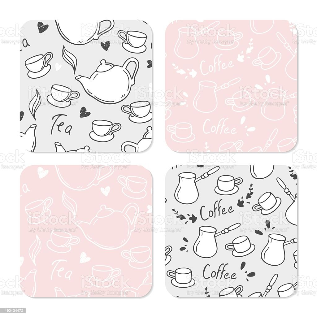 Square table coasters set with doodle tea and coffee background vector art illustration