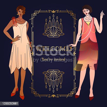 istock Square Template of 1920s Art Deco invitation or greeting card. Copy space layout with geometric frame and flapper girls 1253252681