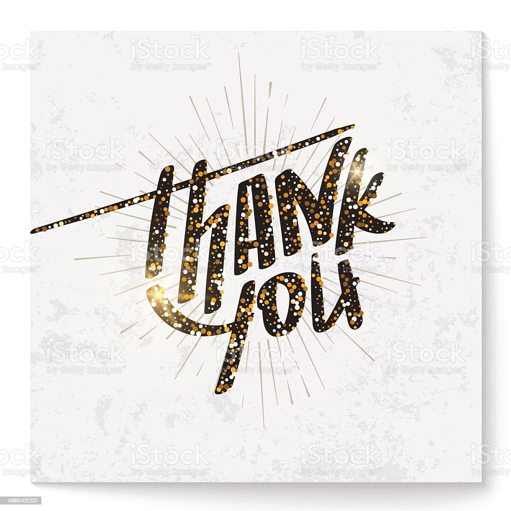 Square Thank You Card With Modern Lettering Made Of ...
