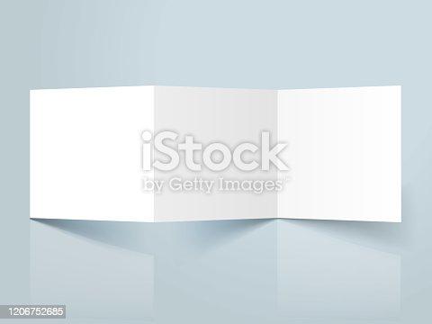 blank threefold brochure template mockup