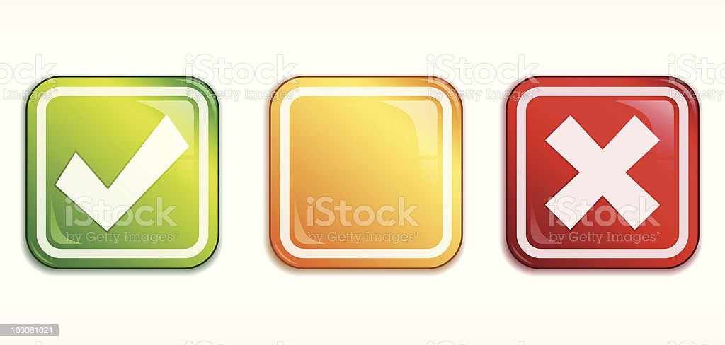 Square Tick/Cross badge set royalty-free stock vector art