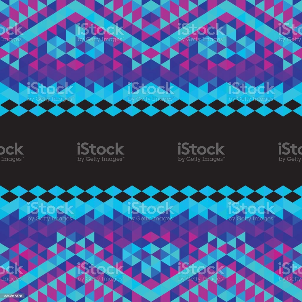 Square triangle geometric neon tribal background - Pink, Blue, Black vector art illustration