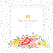 Square vector design frame with bouquet of wild rose