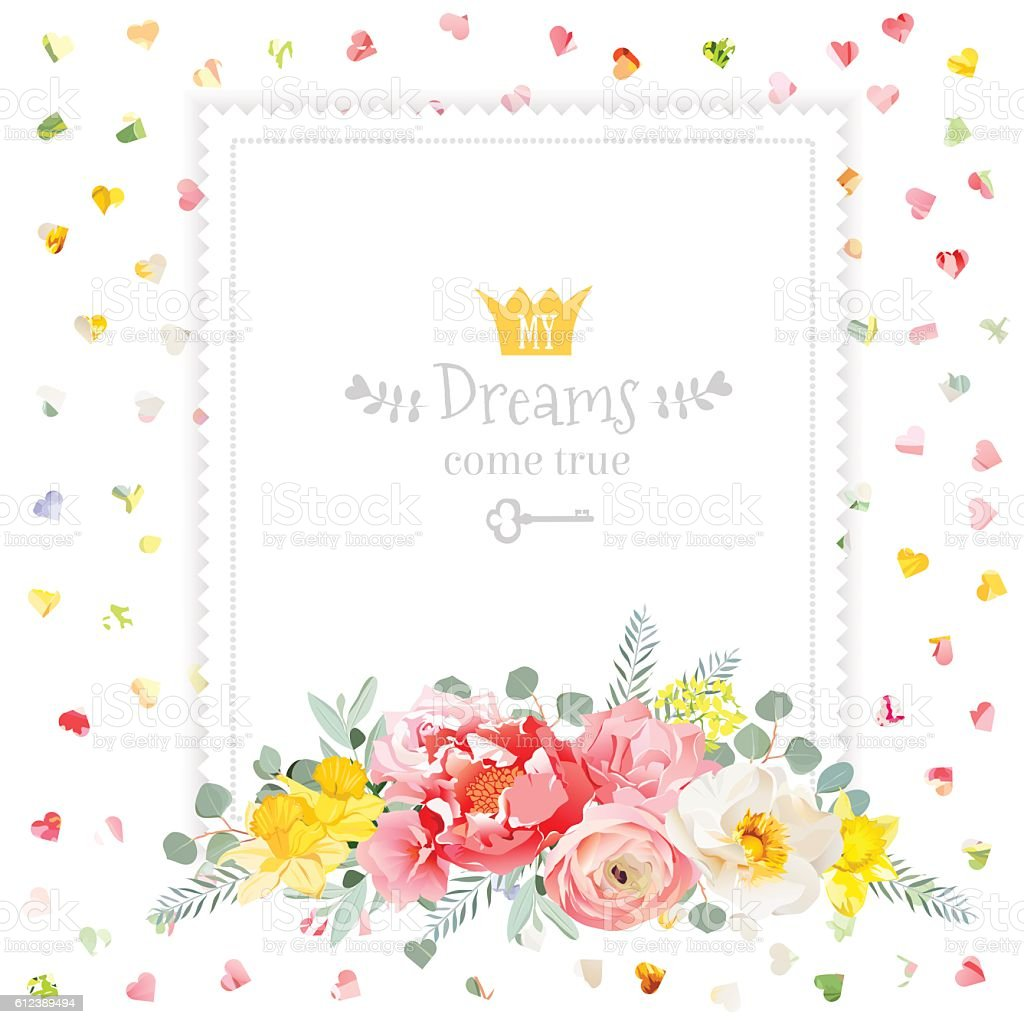 Square Vector Design Frame With Rose Ranunculus Daffodil Narcissus
