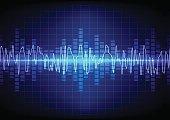 square  Vector sound waves technology background. illustration v