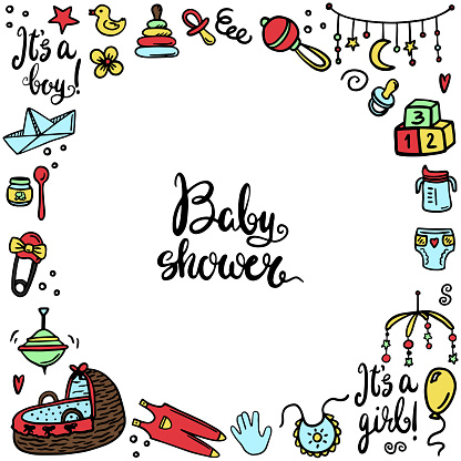 Square vector template baby shower. For a social post. Baby things, a newborn, a rattle, a diaper, a pacifier. Doodles