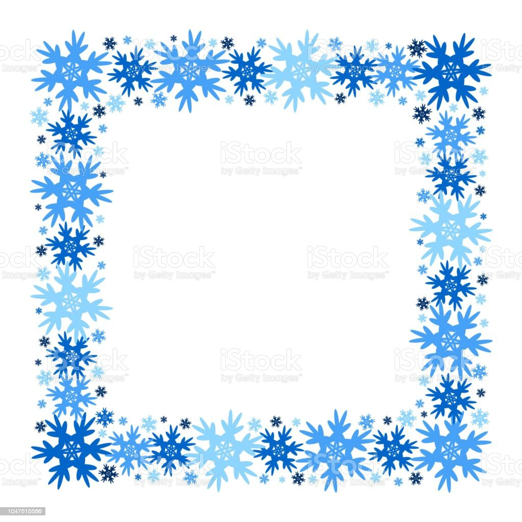 Square Vector Winter Frame Of Snowflakes Isolated Stock Vector Art ...