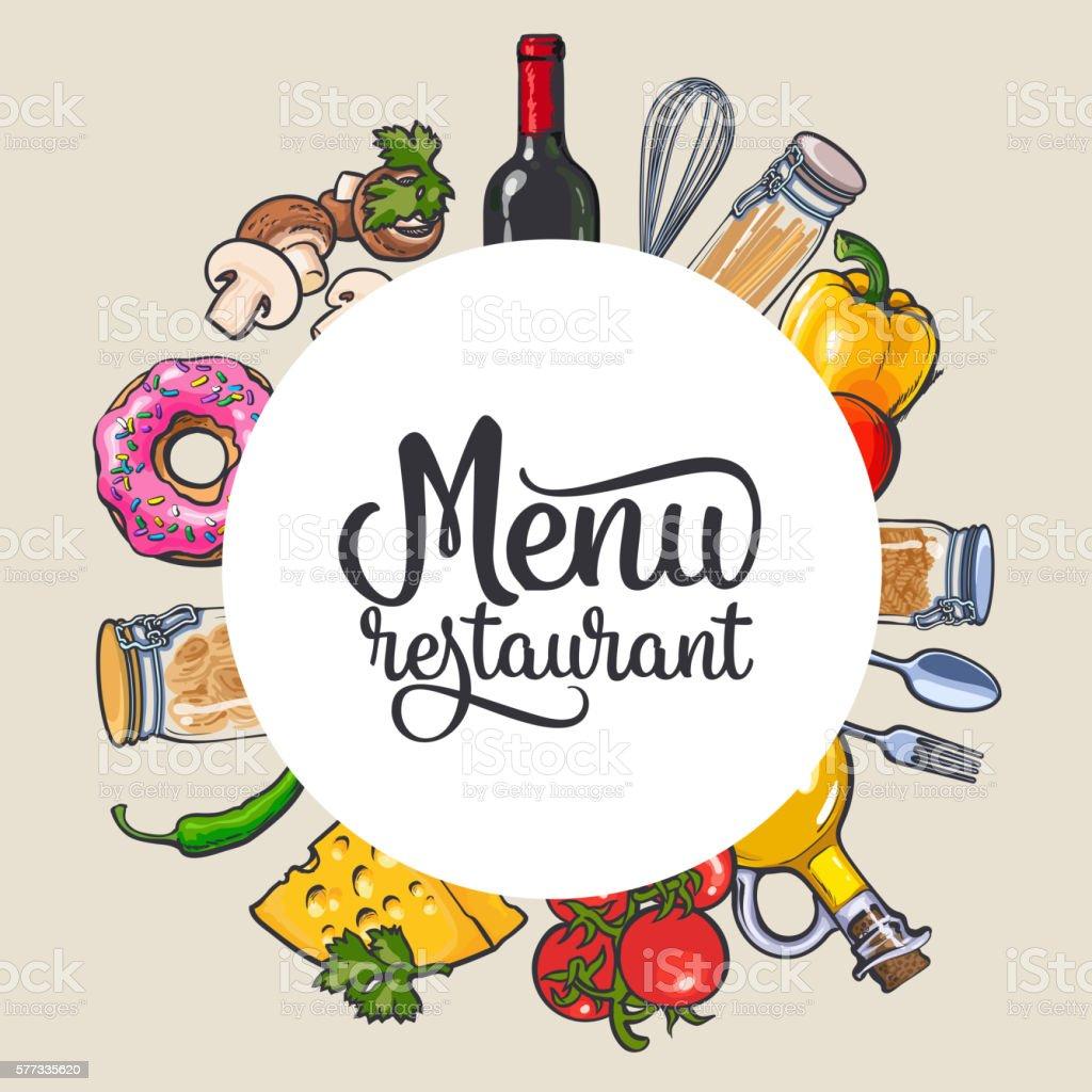 Square vegetable, kitchenware cheese and pasta menu design vector art illustration