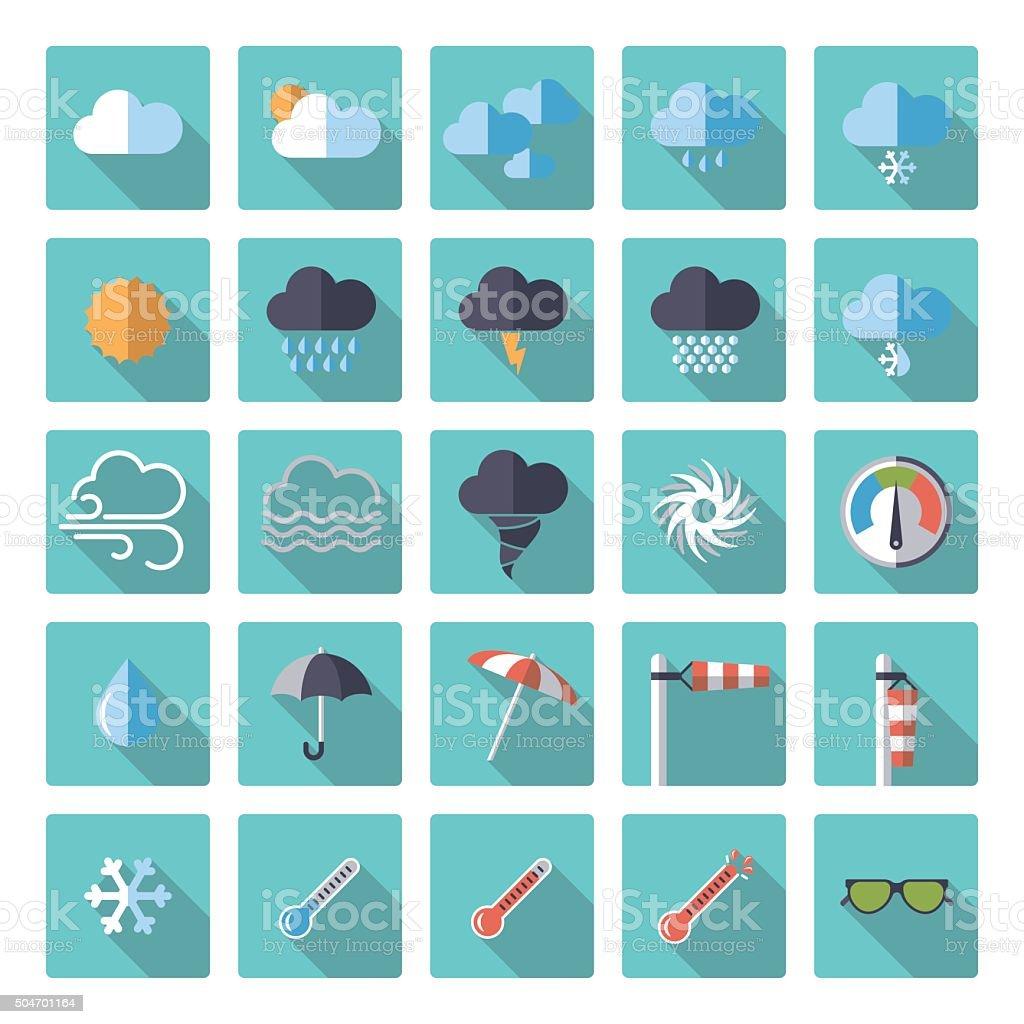 square weather flat design icon set vector art illustration