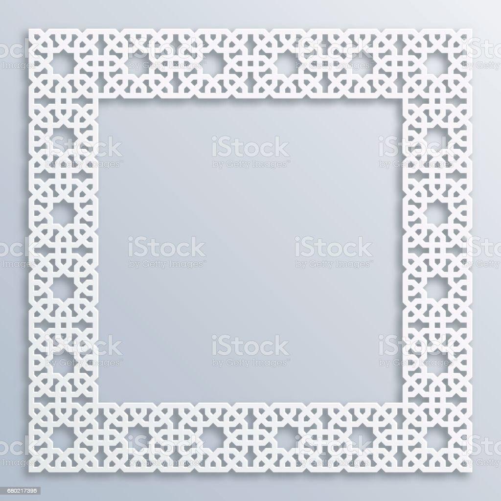 3d Quadratische Weiße Rahmen Vignette Islamische Geometrische Grenze ...