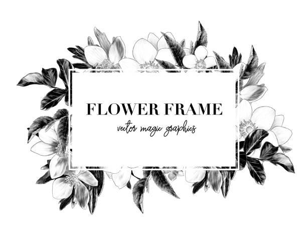 square white frame with lettering decorated with flowers – artystyczna grafika wektorowa