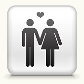 Royalty free vector icon. The black interface icon is on a simple white Background. Button has a bevel effect and a light shadow. 100% royalty free vector file and can be easily modified, icon download comes with vector graphic and jpg file. White Square Button with Couple In Love Holding Hands