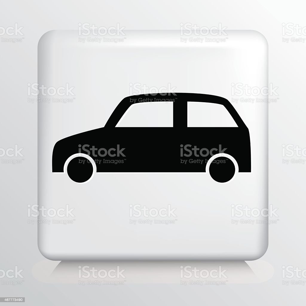 Square White Icon With Car Silhouette vector art illustration