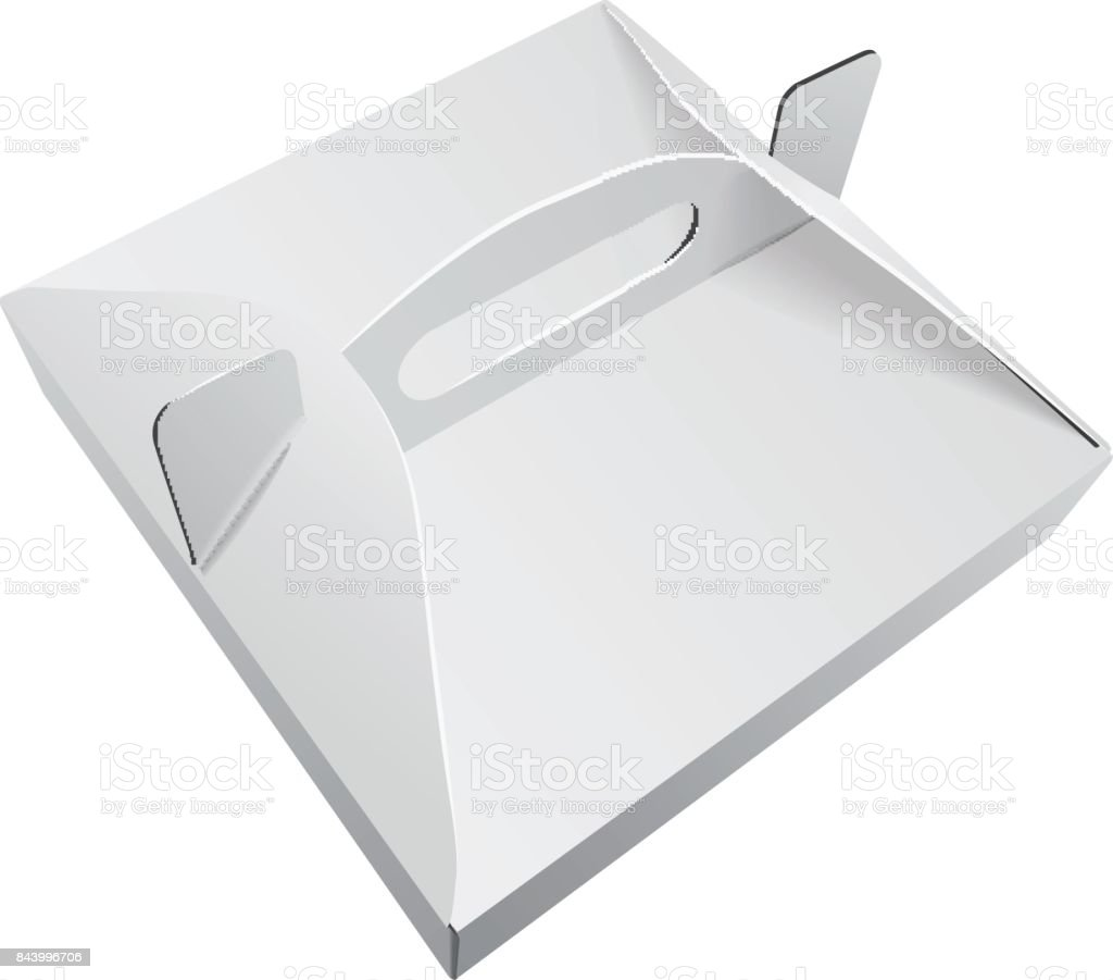 Square White Kraft Paper Pizza Box Food Packaging With Handle ...