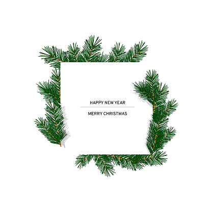 A square white postcard framed with fir branches. Border from pine, Christmas tree branches. Festive decoration for christmas, new year, place for text. Vector illustration isolated.