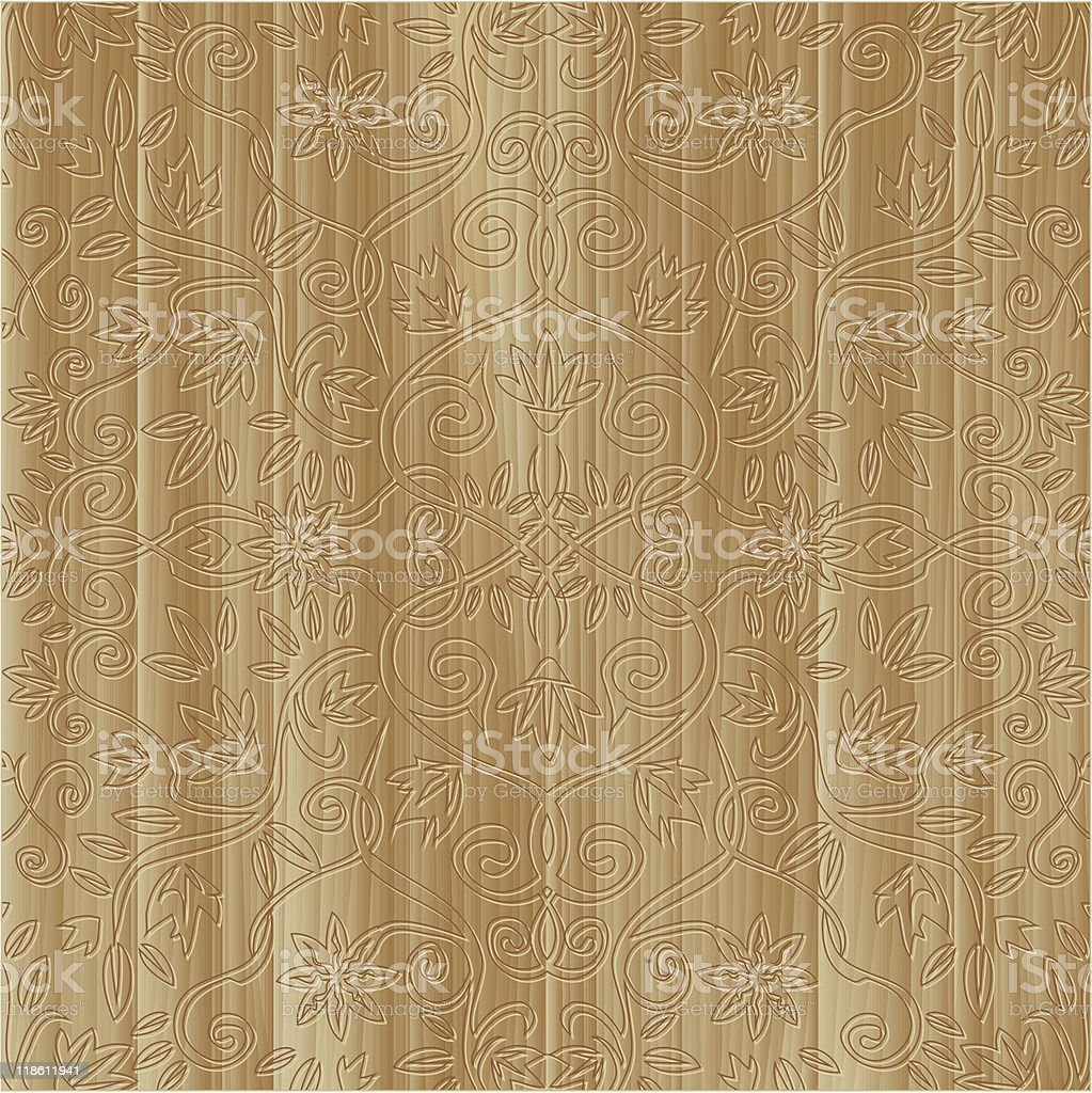 Square wooden board with floral carved ornament vector art illustration