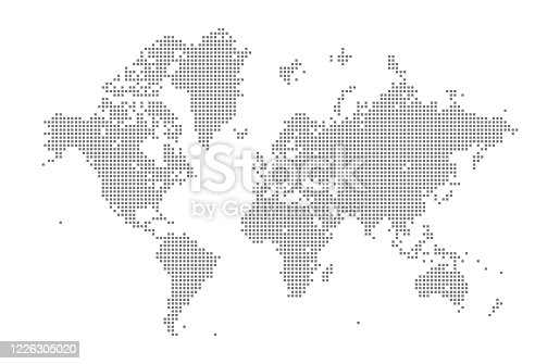 This vector illustration uses squares to create a detailed world map. The EPS 10 file is easy to colour and customise if required and can be scaled to any size without loss of quality, making it an ideal design element for your project.