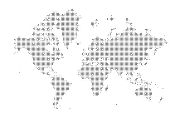 Square World Map This vector illustration uses squares to create a detailed world map. The EPS 10 file is easy to colour and customise if required and can be scaled to any size without loss of quality, making it an ideal design element for your project. global stock illustrations