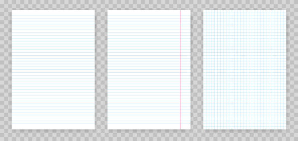 squared and lined paper sheets of notebook or copybook. vector realistic paper sheet of lines and squares notepad pages set isolated on transparent background - lined paper stock illustrations