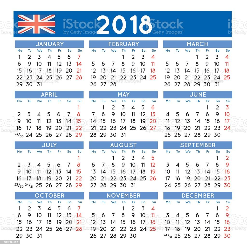2018 Squared Calendar English Uk Week Starts On Monday Stock