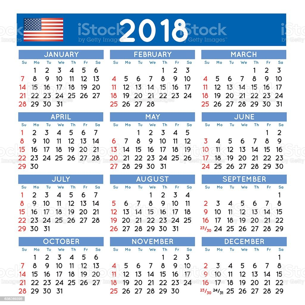 2018 Squared Calendar English Usa Stock Vector Art & More Images